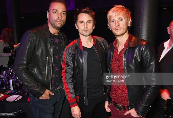 Chris Wolstenholme, Matt Bellamy and Dominic Howard of Muse attend a drinks reception at The Stubhub Q Awards 2016 at The Roundhouse on November 2, 2016 in London, England.: