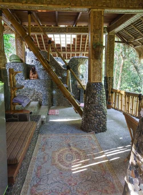 River Waterfall View Jungle Bamboo Lounge House Houses For Rent
