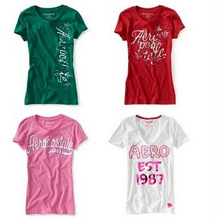 ***HOT*** coupon code!  Extra 40% off your order at Aeropostale.com (Ends 11/20).   Glitter Tees  List $19.50  after code: $6.00