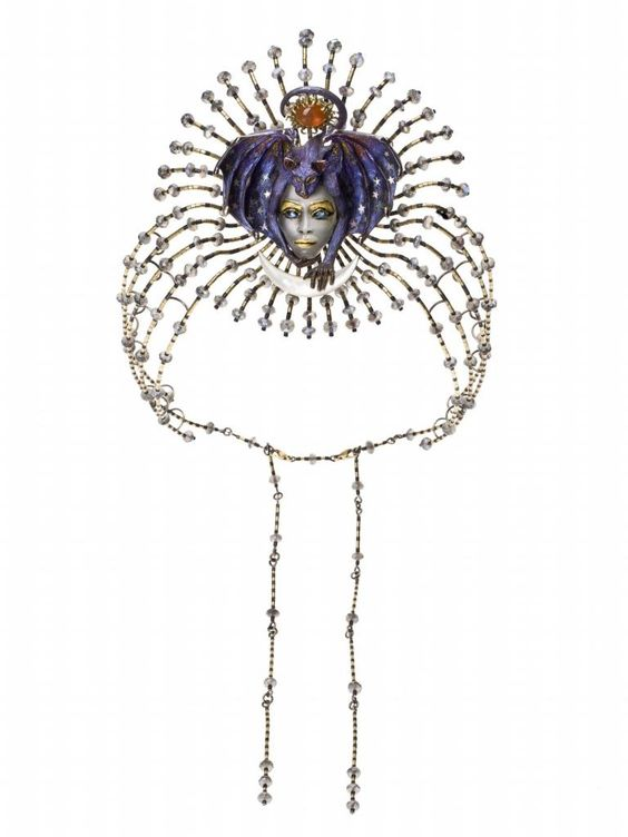 Signed tiara or neckpiece entitled 'Entry of the Queen of the Night (Mozart Series)', in yellow and white gold, carved and inlaid with grey moonstone and mother-of-pearl, by Kevin Coates, London, 1996: