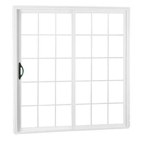 Crestline Select 250 Series 60 W X 80 H White Vinyl Sliding Patio Door With Low E Glass With Grille Vinyl Sliding Patio Door Sliding Patio Doors Patio Doors