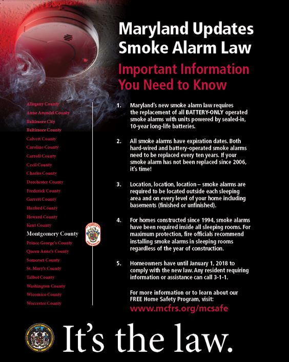 flyer of new maryland smoke alarm law. document available in Word or pdf for reader platforms