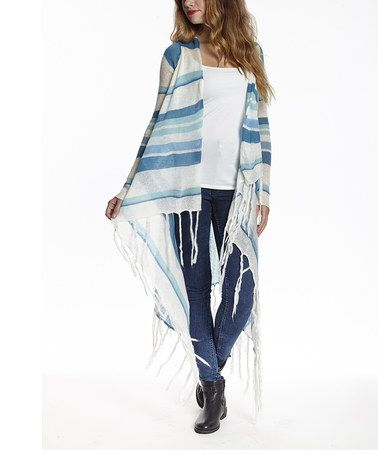 Look what I found on #zulily! Blue & White Fringe Mohair-Blend Open Cardigan #zulilyfinds