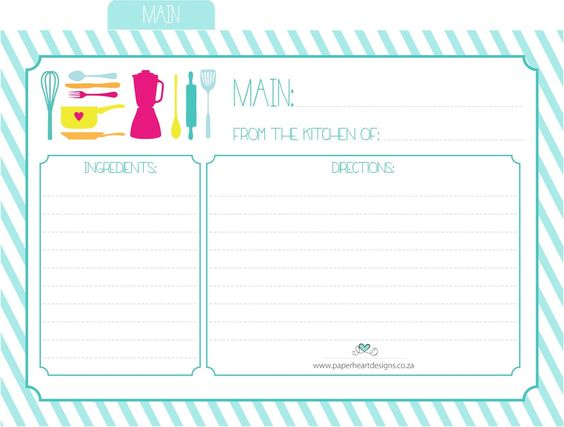 Paper Heart Designs  Free Printable Recipe Cards  Main