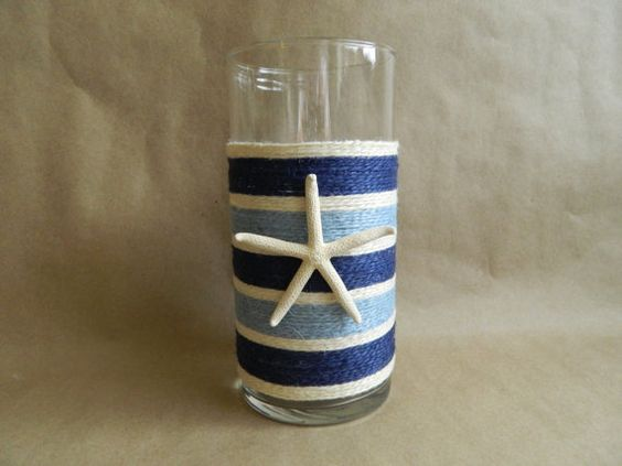 Beachy Stripes Jute Wrapped Candle holder or by Tersjustbeachy