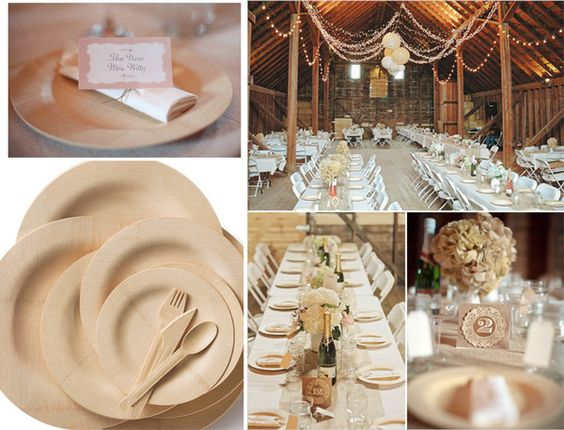 Disposable bamboo plates for a wedding. Doesn't look tacky at all!