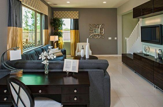wohnzimmer grau gelb:Wohnzimmer Farbgestaltung – Grau und Gelb – Wohnzimmer traditionell