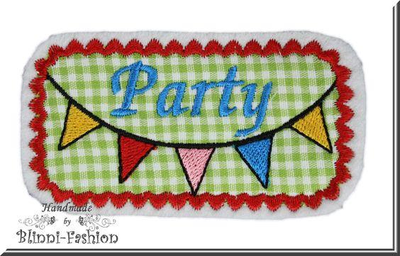 """""""Wimpelkette - Party""""    Witzig, bunte Wimpelkette """"Party"""" gestickt auf Baumwollstoff und Filz.    Super zum Aufpeppen von Shirts, Jacke, Mütze, Swea"""
