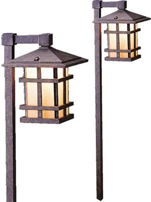 Art deco and mission style path lights and landscape for Line voltage outdoor lighting