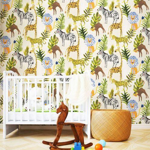 Little Ones Eco Safari Wallpaper Multi Grandeco Lo2201 In