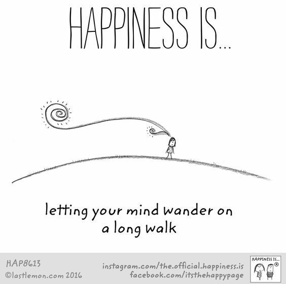 Happiness is... letting your mind wander on a long walk