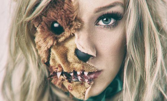 Scary teddy bear split face halloween makeup tutorial