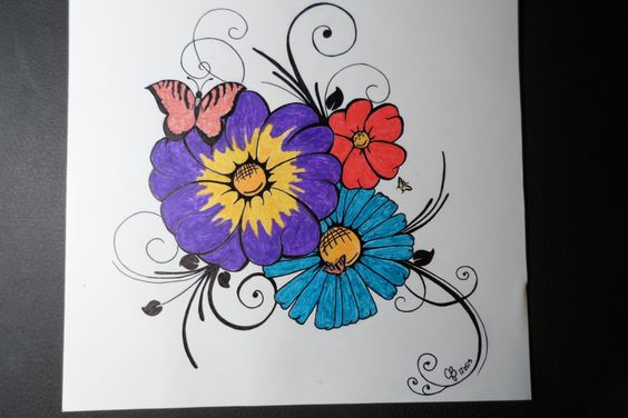 Bouquet de fleurs dessin au crayon aquarelle dessin - Dessins de bouquets de fleurs ...