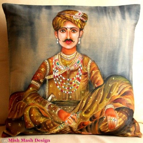 Beautiful silk cushion by artist Abhilasha Jain
