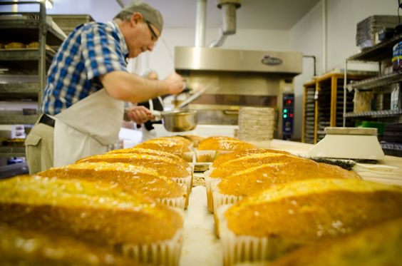 Swiss Master Baker and Master Pastry Chef, Jos Rehli, making Pound Cakes.  Fresh, in-house, made daily.