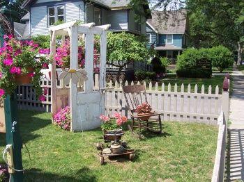 Doors used as garden decorations