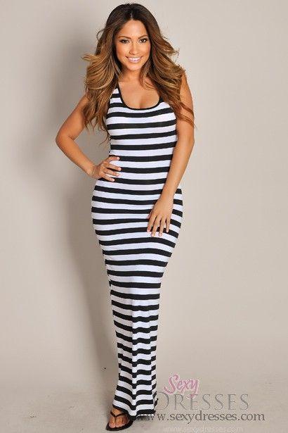 Sleeveless Black and White Stripes Crochet Maxi Dress - Maxis ...
