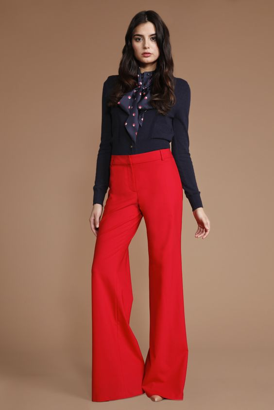 Shoshanna Twilight Tamar Cardigan & Shoshanna Cherry Red Stretch Tropical Wool Shanley Pant