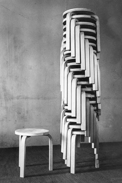 Alvar Aalto stool, model E60, designed in 1933, Artek Oy Finland: