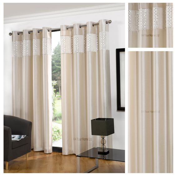 Glitz Faux Silk Cream Eyelet Lined Curtains – 4 Your Home
