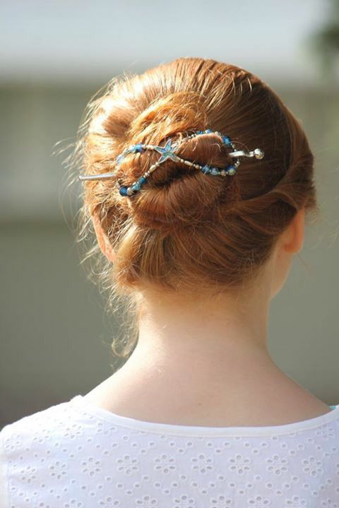 "Get that hair up off your neck and hold the bun with a beautiful blue and silver ""Tidepool Treasures"" flexi clip. Perfect summer hairstyle!"