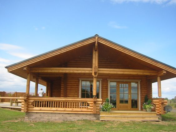 Double Wide Log Mobile Home | Round log sizing structure. Square logs also available.