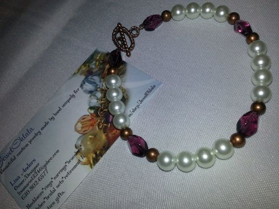 Bracelet Pearls and Plum by JewelOhlala on Etsy, $10.00