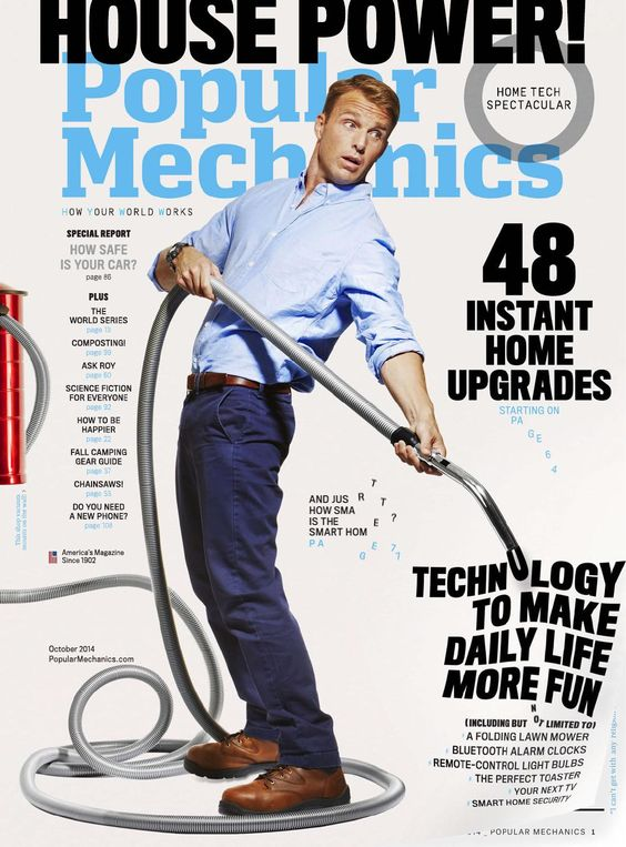 """It is confusing to understand what the title of the magazine if it is either """"house power"""" or """"popular mechanics"""" because they are about the same size. The hierarchy needs to be fixed. The magazine would be more effective if it had more colors to it or if it used the blue in """"popular mechanics"""" elsewhere and not just in the one spot. The picture isn't effective either because it makes no sense."""