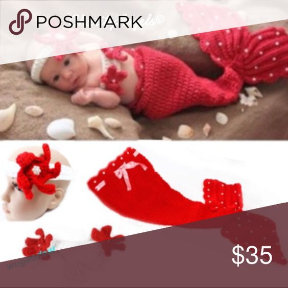 Red Baby Mermaid Outfit Handmade Crochet Red Mermaid Tail, Top & Headband CharityAngels Matching Sets