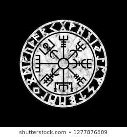 Vegvisir Viking Compass With Runes Grunge Style Viking Wallpaper Viking Tattoo Symbol Viking Symbols