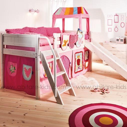 Le lit mi hauteur 90x200 cm avec chelle inclin e et son toboggan classic lin - Lit mi hauteur evolutif ...