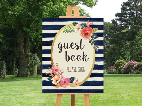 Guest Book Sign Printable Wedding Sign Navy by PinkTranquilitie