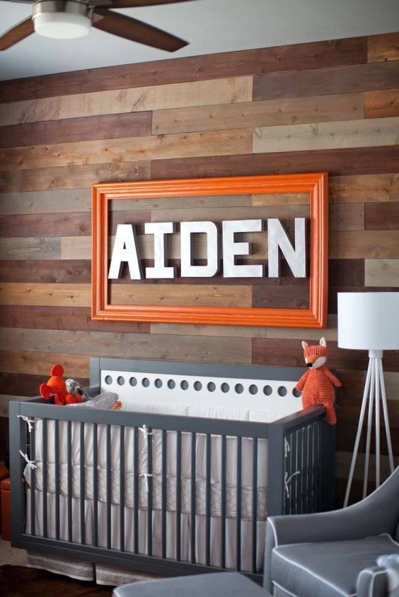 Wood Accent Wall in the Nursery - modern meets rustic in this beautifully styled baby boy nursery!