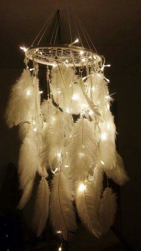To make Chandelier from hula hoop, twine, christmas lights and plumes.