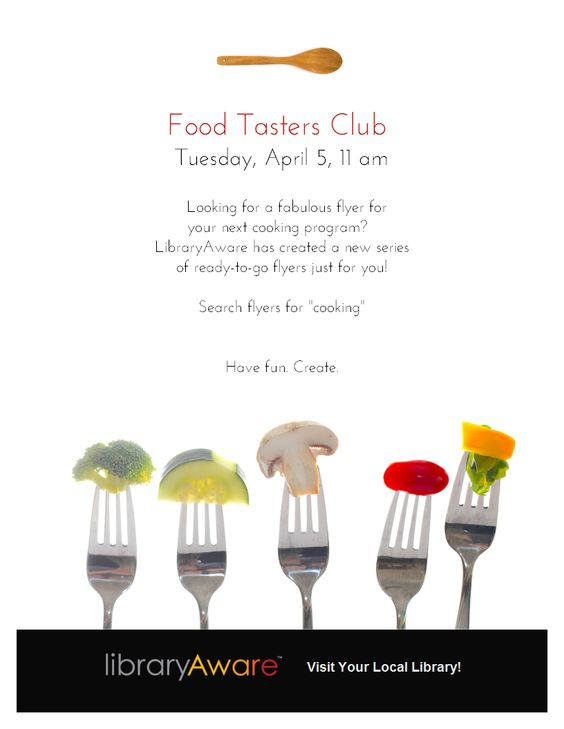 Need to promote a food themed program at your library? LibraryAware can help with our new cooking series. Search for ready-to-go flyers for events and book displays. You're going to love them all!