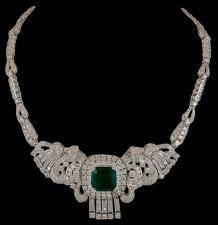 Platinum Diamond Emerald Necklace