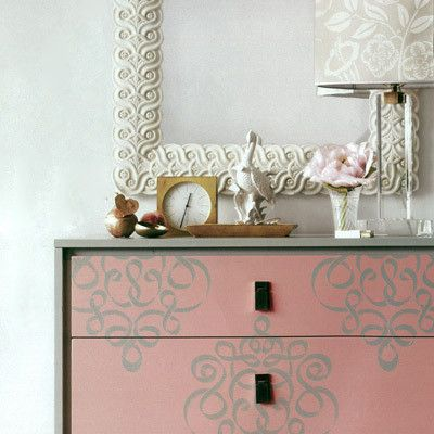 Ribbon Damask Furniture Stencil from Royal Design Studio: