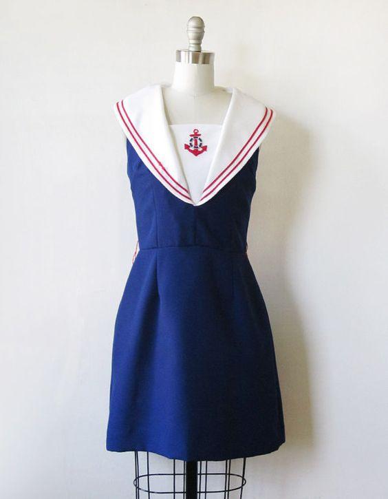 vintage 1960s sailor dress