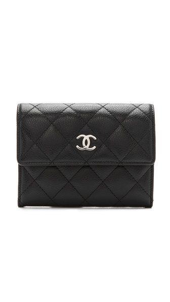 Vintage Chanel Black Caviar Quilt Wallet