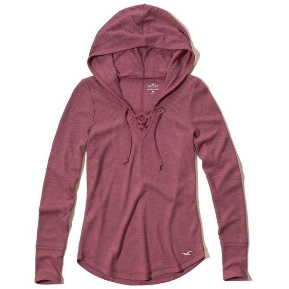 Hollister Must-Have Lace-Up Waffle Hoodie ($20) ❤ liked on Polyvore featuring tops, hoodies, light burgundy, purple hoodie, purple hoodies, hooded sweatshirt, hooded pullover and sweatshirt hoodies