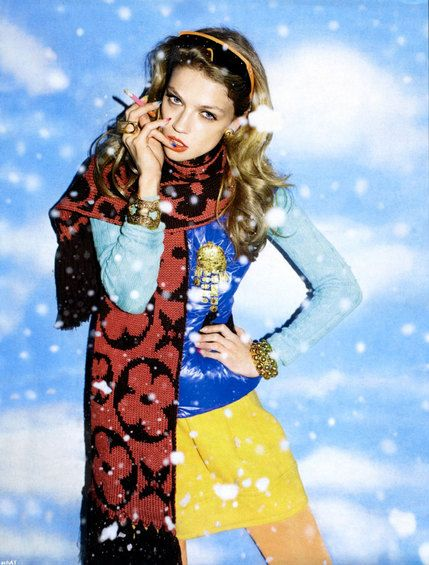 Fun in the snow: Masha Novoselova in Russian 'Vogue' inspires us in her winter brights