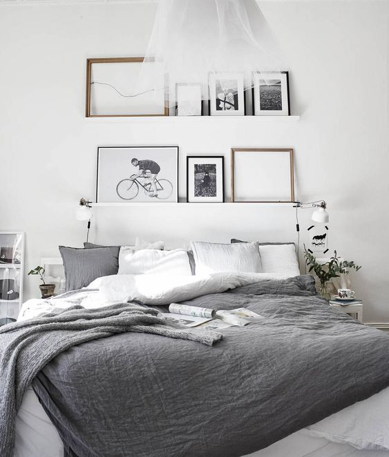 Dark grey hues bedding. New pillows, big blanket (no douvet ) plain greys.. No patterns. Lots of blankets