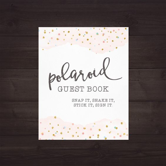 polaroid guest book sign for wedding polaroid guest book printable for wedding polaroid. Black Bedroom Furniture Sets. Home Design Ideas