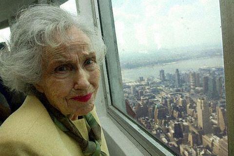 older Fay Wray in New York City