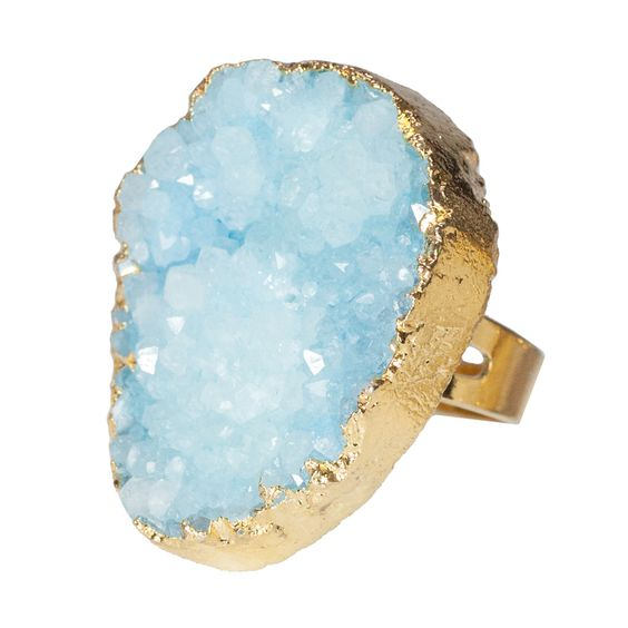Gold Dipped Blue Druzy Ring - t+j Designs