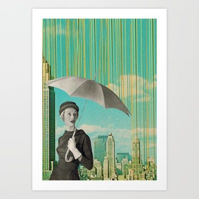 NYC Rain  Art Print by Sammy Slabbinck