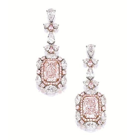 Radiant Pink Diamond and diamond earrings