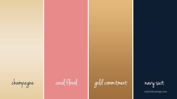 color palette |gold navy coral champagne | WEDDING COLORS