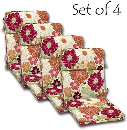 Best Seller Set 4 Outdoor Dining Chair Cushions Single Welt Zipper 44 X21x4 50 Polyester Fabric Sorbet Floral Comfort Classics Inc Online Newtrendylook In 2020 Outdoor Dining Chair Cushions Dining Chair Cushions Chair Cushions