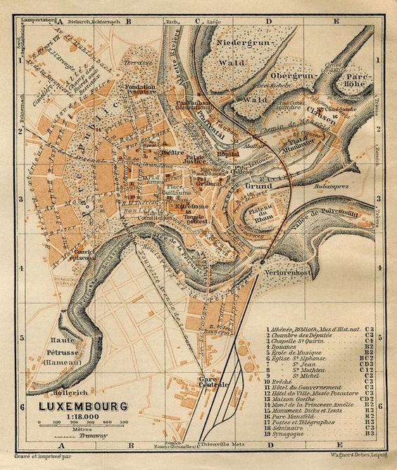 Luxembourg City Tour: 1905 Luxembourg City Map, Baedeker Travel Guide Street